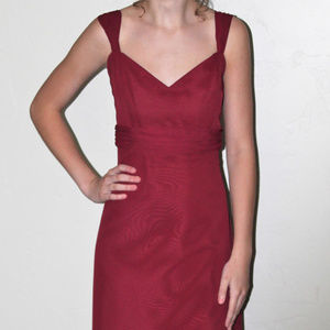 Burgandy chiffon floor length dress